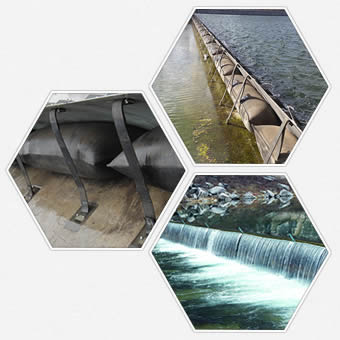 Two shield type rubber dams in low water level river and a shield type rubber dam has overflow.