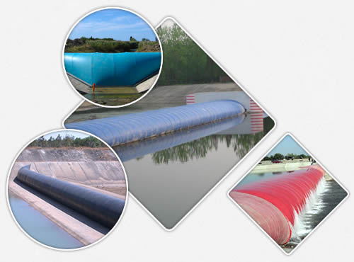 Air or water inflatable rubber dams are installed in river with the color of blue, black and red.