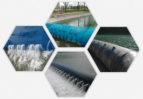 Black and blue spoiler rubber dam in the situation of with overflow and without overflow.