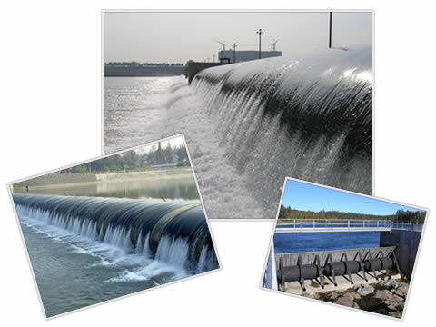 There are air inflatable rubber dam, water inflatable rubber dam and bookend rubber dam.
